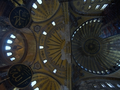 Ceiling view of Hagia Sophia. This dome is so massive that the Statue of Liberty can fit beneath it with room to spare!