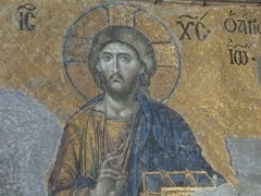 Detail of the Deësis mosaic, which is widely considered the finest in Hagia Sophia