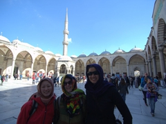 The girls striking a pose at the Blue Mosque