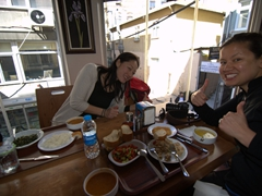 Ichiyo and Becky thrilled with their lunch; Degirmencioglu cafeteria