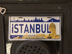 Istanbul license plate with Galata Tower image