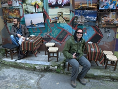 Robby rests his weary feet at a funky Istanbul cafe