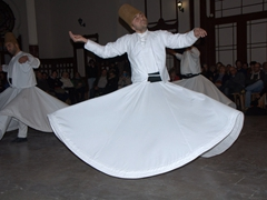 How the spinning dervishes manage to whirl and pirouette continuously for half an hour is beyond comprehension