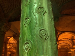 Close up of the raised tears column; Basilica Cistern