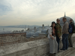 Ichi, Kendra, George and Robby admiring the vista from Süleymaniye Mosque's terrace