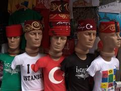 Plastic mannequins displaying Istanbul paraphernalia