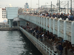 View of busy Galata Bridge