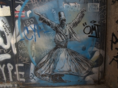 Whirling dervish graffiti artwork