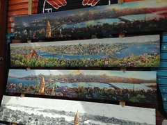 Panoramic Istanbul paintings for sale; İstiklal Avenue