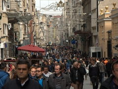Pedestrians galore on İstiklal Avenue