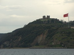 Distant view of the ruined Byzantine castle of Yoros; Anadolu Kavagi