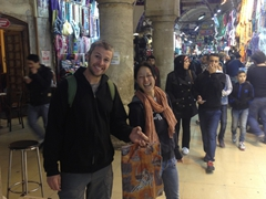 Robby and Ichiyo laugh as we take care of shopping at the Grand Bazaar