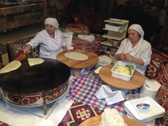 Ladies preparing spinach and feta gozleme