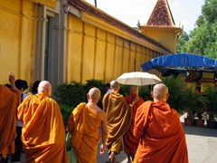 Monks visiting the Royal Palace; Phnom Penh