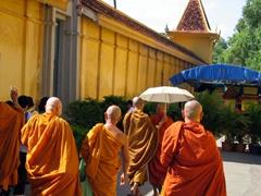 Monks visiting the Royal Palace; Phnom Penh