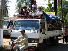 Locals are crammed on public transport