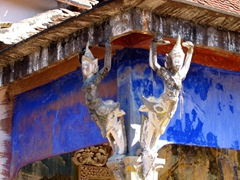 Detail on the corner of a building near Bakong Temple