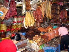 Dried fish, sausages, and shrimps; Central Market in Phnom Penh