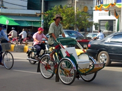 Cyclos are a popular mode of travel; Phnom Penh