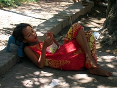 Chilling beneath a shady tree; Phnom Penh