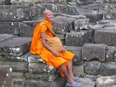 An elder monk in a peaceful repose; Bayon Temple