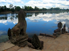 Sras Srang is a reservoir with steps that lead down to the water guarded by two guardian lions