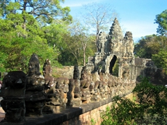 Our first view of Angkor Thom, the last and most enduring of the capital cities of the Khmer Empire. This is the south gate entrance