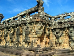 The 350m long Terrace of Elephants functioned as a giant reviewing stand for public ceremonies. The middle section of the retaining wall (seen here) is decorated with life sized garuda and lions