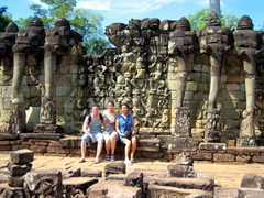 "Robby, Becky & Ann pose in front of the aptly named ""Elephant Terrace"""