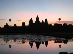 A view of Angkor Wat just before sunrise