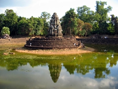 View of  Preah Neak Pean, an artificial island with a Buddhist temple built atop it