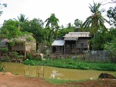 A snapshot of a Cambodian village near a river