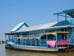 View of the Catholic church at Tonle Sap