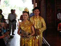 A traditional Cambodian wedding is reenacted at the Cambodian Cultural Village; Siem Reap