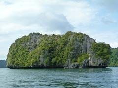 Jade green islands dot the landscape of the marine park in Langkawi