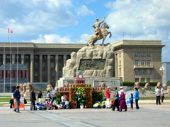 Sukhbaatar Square is the central square in Ulan Bator, named after Damdin Sukhbaatar, leader of Mongolia's 1921 revolution