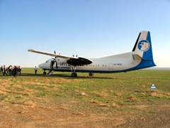 Our Aero Mongolia plane on its Gobi Desert runway; Dalenzodgad