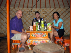 Its Day 1 in the Gobi Desert and the family already has pulled out their stash of drinks for an afternoon cocktail; Gobi Yurt Camp