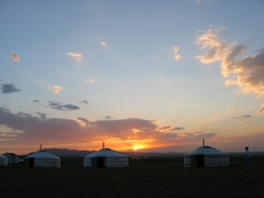 A wonderful sunset over our Gobi Yurt Camp