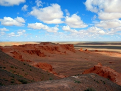 The Flaming Cliffs are famous for being the site of the first discovery of Dinosaur eggs; Gobi Desert