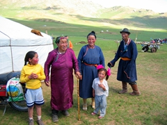 This Mongolian family came out to greet and welcome us to a locally held version of the Naadam Festival