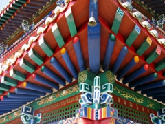 Colorful detail of a temple at Erdene Zuu Monastery