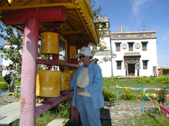 Nancy spins the prayer wheels at Erdene Zuu monastery