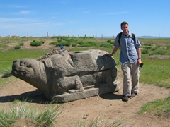 Outside the Erdene Zuu monastery lie two stone turtles, which marked the boundaries of the ancient city of Karakorum and served as protectors of the city