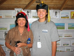 Ann and Franny strike a pose in souvenir hats for sale at the gift shop at Erdene Khombo monastery