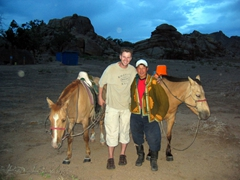 Robby befriending our horse guide; Hogno Khan Ger Camp