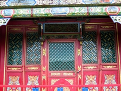 Colorful exterior of a temple in Bogd Khan's Winter Palace complex