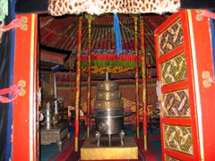 Interior view of the ceremonial ger of the last King of Mongolia (referred to as the Bogd Khan); Winter Palace