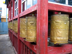 Prayer wheels at the Gandan Monastery in Ulan Bator