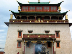 Megjid Janraisig Temple, which houses a 25 meter tall statue of Janraisig; Gandan Monastery